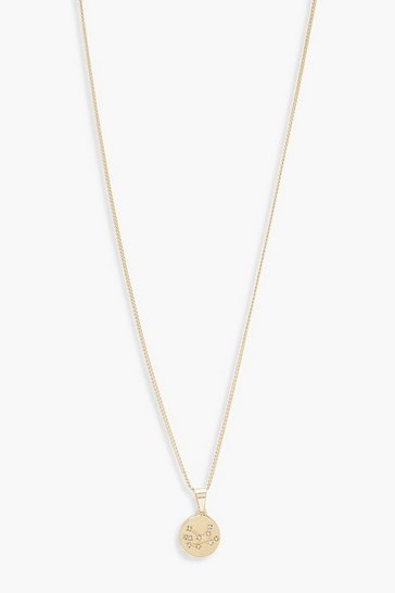 Womens Gold Virgo Constellation Pendant Necklace