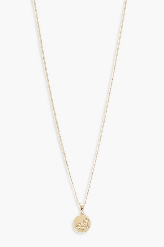 Womens Gold Leo Constellation Pendant Necklace