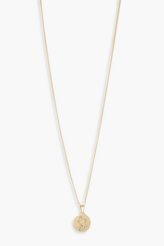 Womens Gold Libra Constellation Pendant Necklace