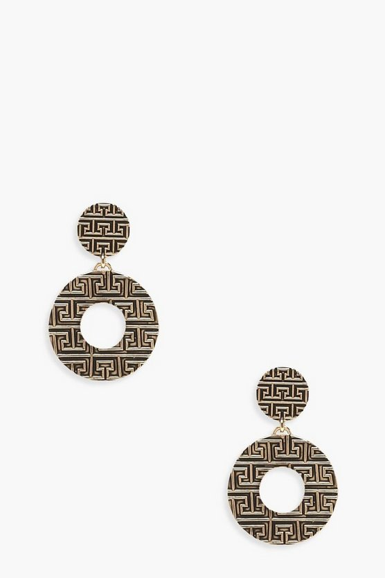 Womens Gold Abstract Contrast Circle Earrings