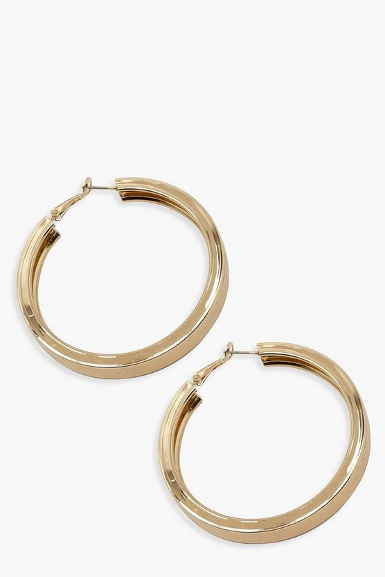 Womens Chunky Flat Gold Hoops