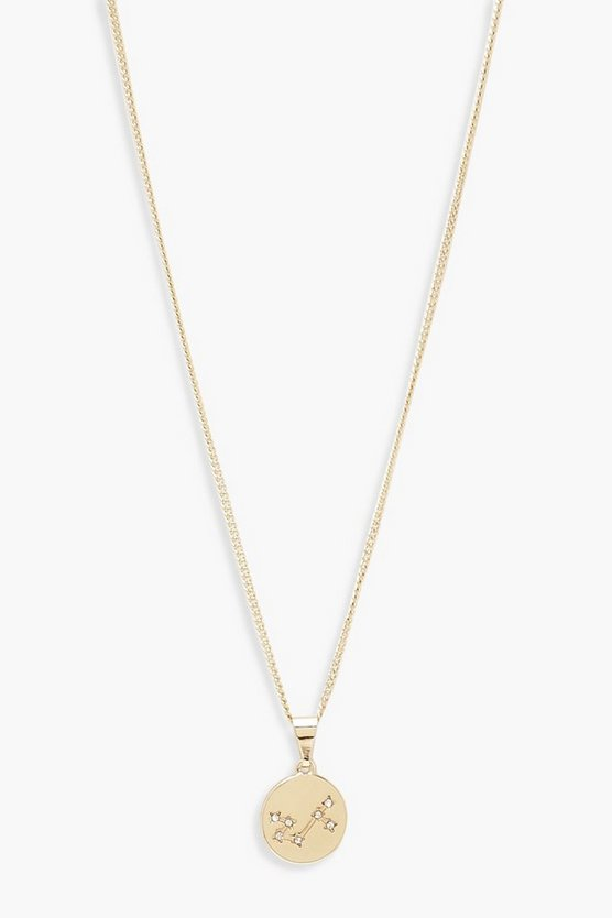 Womens Gold Scorpio Constellation Pendant Necklace