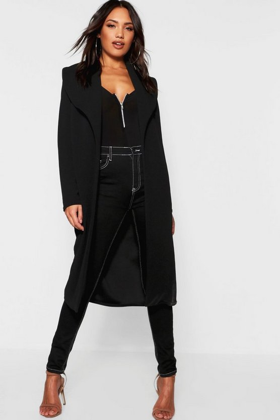 Womens Black Oversized Fold Over Duster