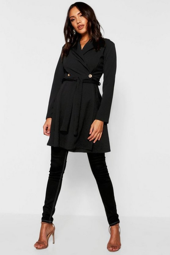 Womens Black Wrap Over Button Detail Duster