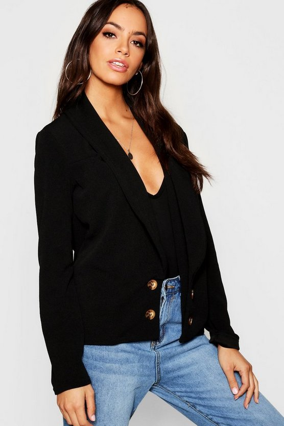 Womens Black Double Button Duster