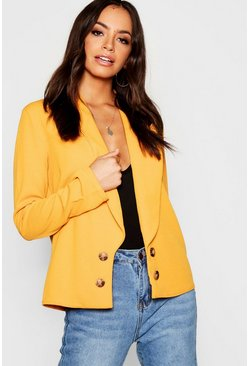 Womens Mustard Double Button Duster