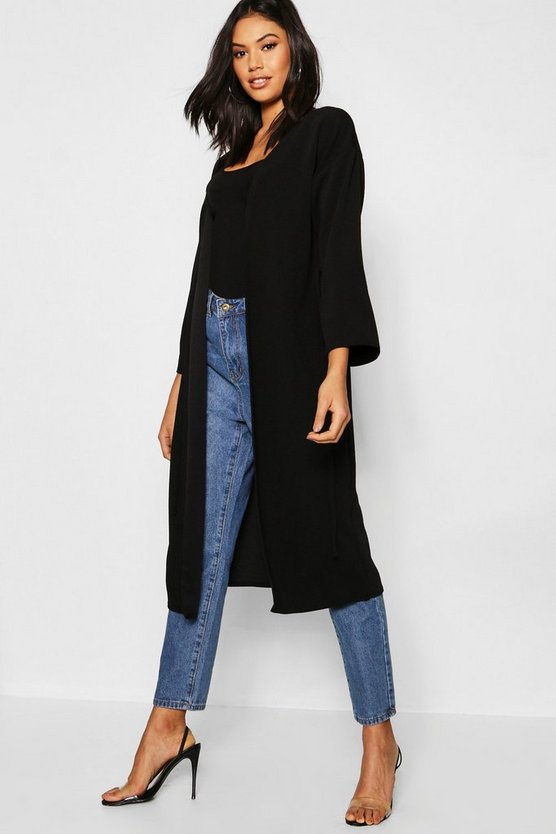 Womens Black Wide Sleeve Eyelet Duster