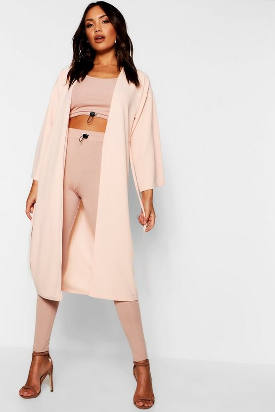 Womens Soft pink Wide Sleeve Eyelet Duster