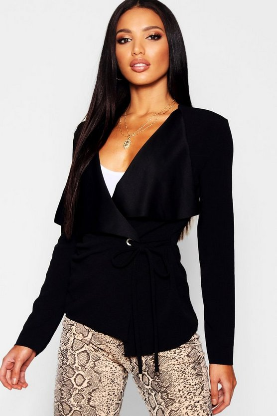 Womens Black Side Tie Duster