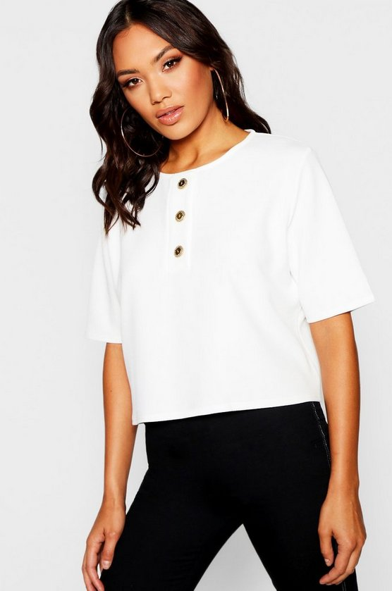 Gold Button Detail Boxy Top