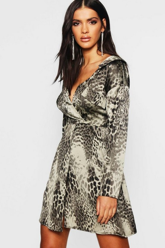 Blazer Utility Pocket Leopard Dress
