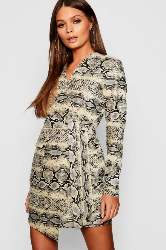 Womens Ecru Snake Suedette Wrap Tie Dress