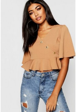 Womens Camel Wrap Front Button Detail Top