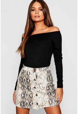 Button Through Snake A Line Mini Skirt, Stone