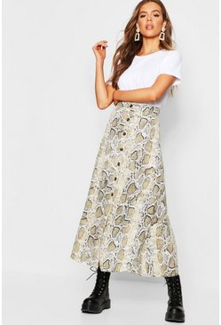 Womens Stone Button Through Snake Midaxi Skirt