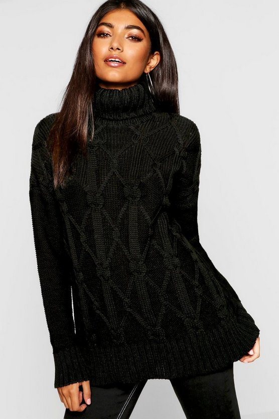 Womens Roll Neck Cable Knit Jumper