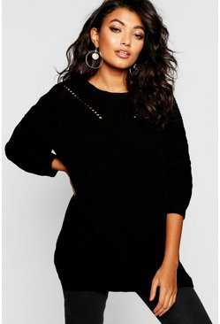 Womens Black Crew Neck Oversized Sweater With Detail