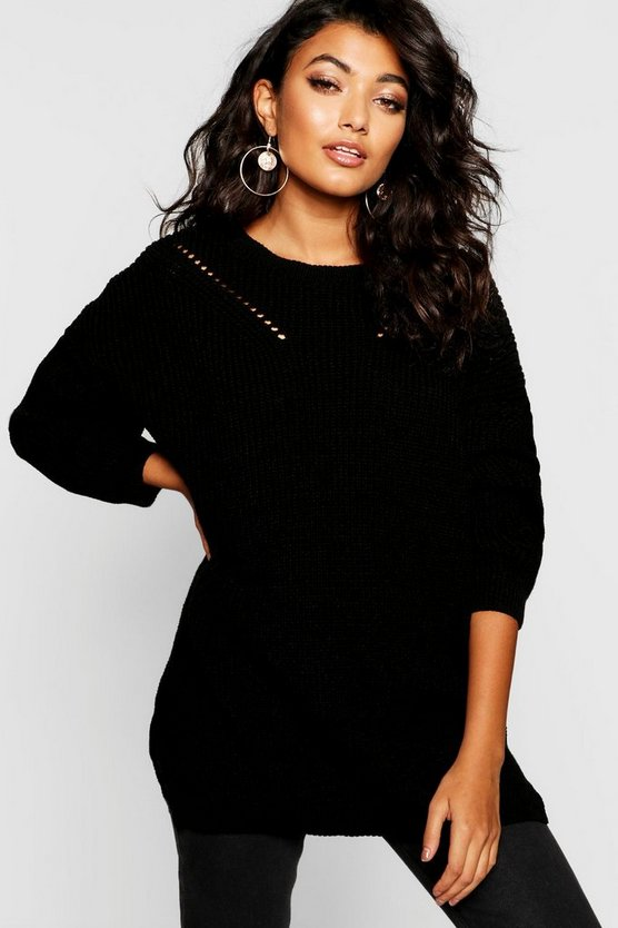 Womens Crew Neck Oversized Jumper With Detail