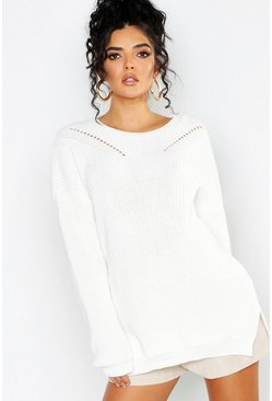 Womens Ivory Crew Neck Oversized Sweater With Detail