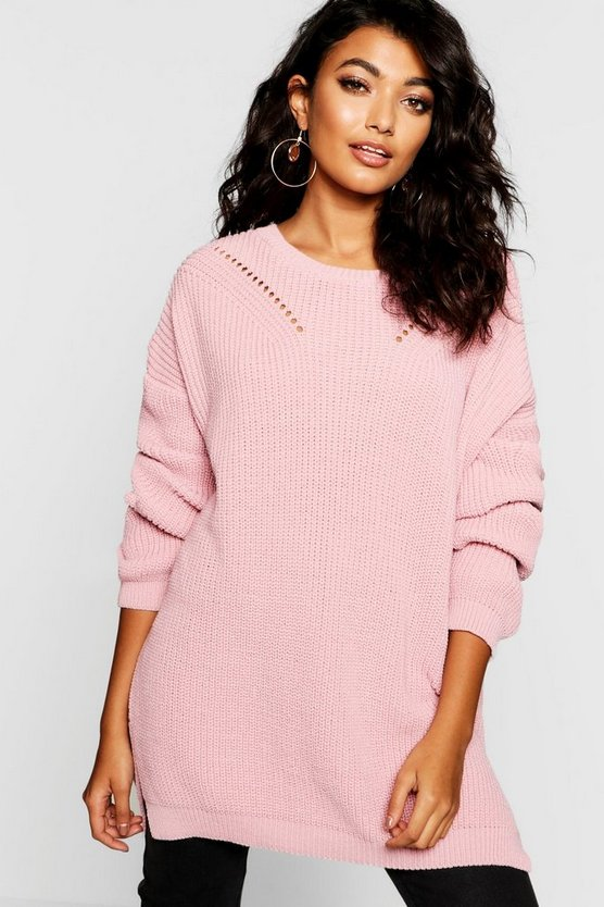 Crew Neck Oversized Jumper With Detail