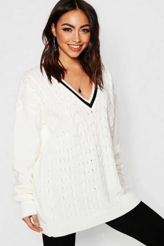 V Neck Cable Knit Long Line Jumper