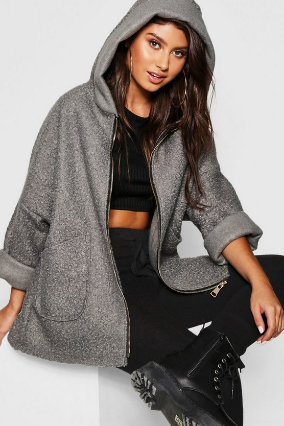 Womens Grey Teddy Faux Fur Hooded Coat