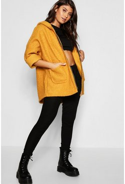 Womens Mustard Teddy Faux Fur Hooded Coat