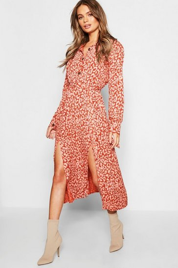 Natural Leopard Collar Button Through Belted Midi Dress