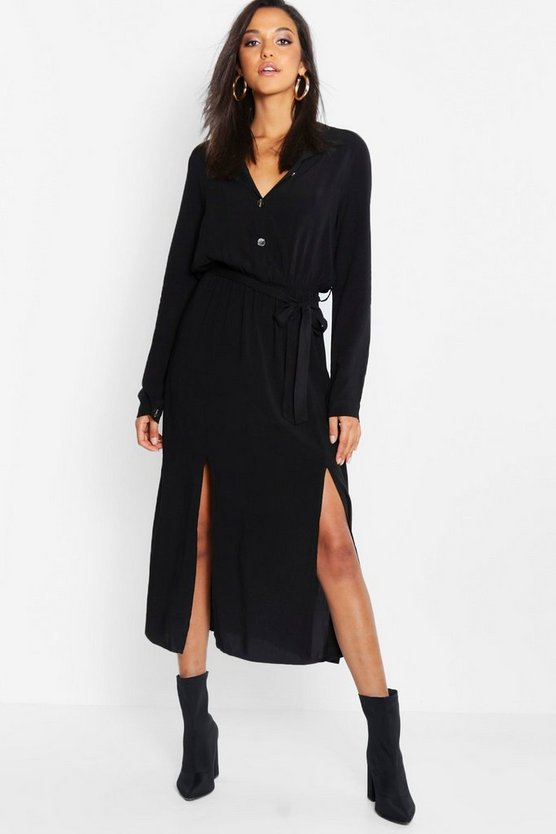 Womens Black Collar Detail Button Through Belted Midi Dress