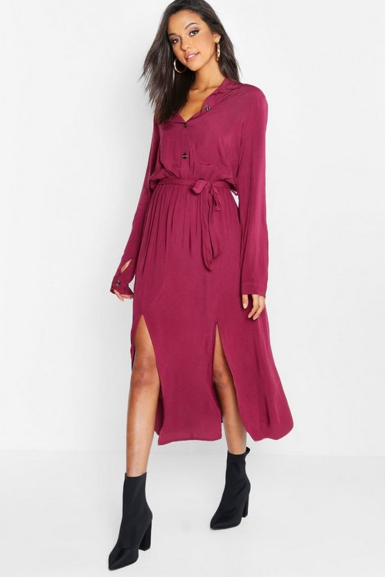 Collar Detail Button Through Belted Midi Dress