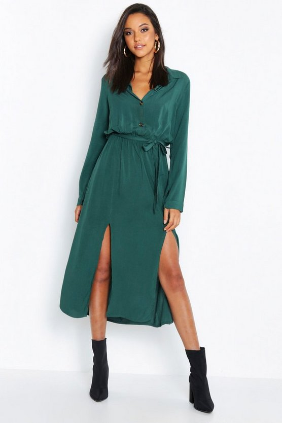 Womens Emerald Collar Detail Button Through Belted Midi Dress