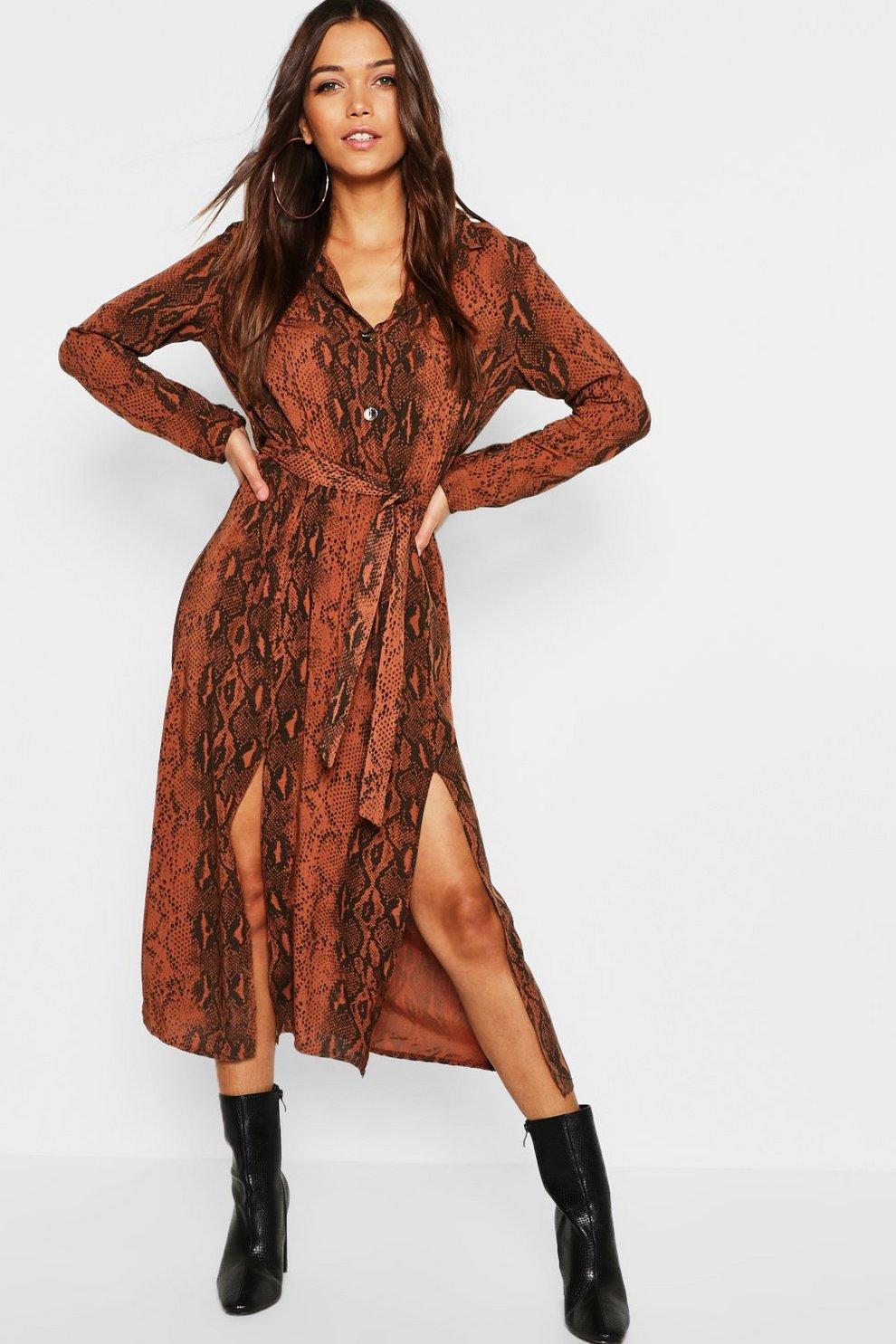 6cbeb86b1b5d Chocolate Snake Button Through Midi Dress | Boohoo