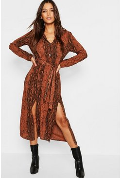 Womens Chocolate Snake Button Through Midi Dress