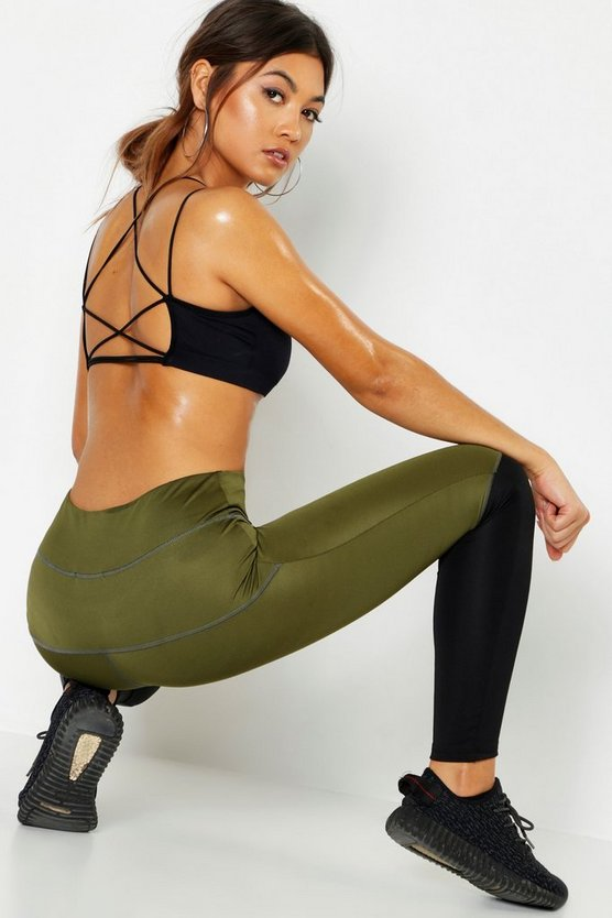 Khaki Fit Premium Colourblock Legging