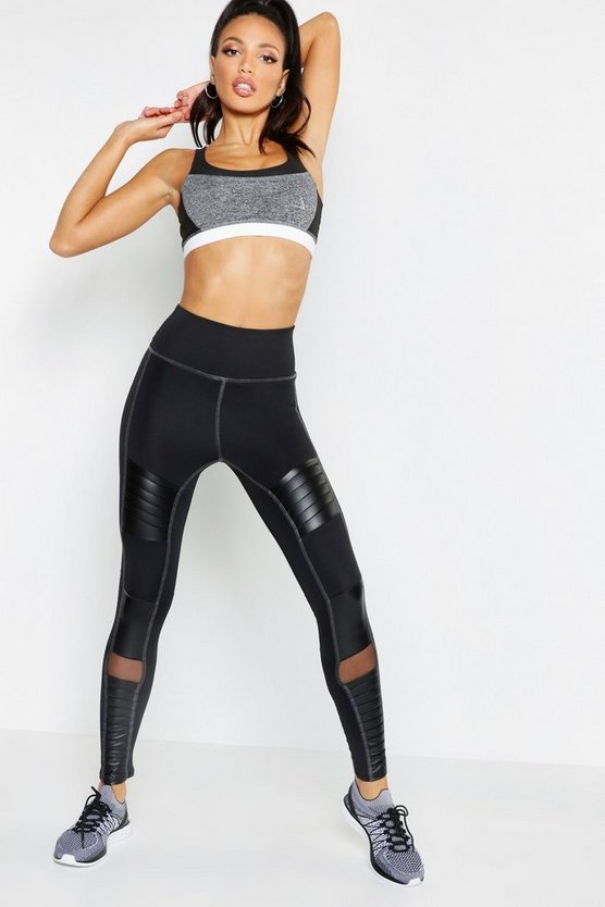 Womens Black Fit Premium Panelled Leggings