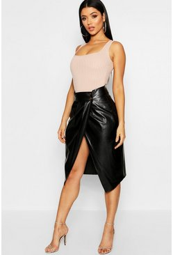 Womens Black Pleat Wrap Front Leather Look Midi Skirt