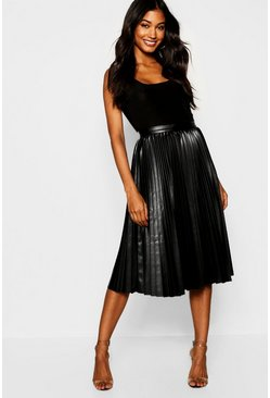 Womens Black Pleated Leather Look Midi Skirt