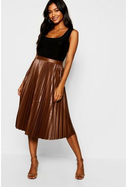 Womens Chocolate Pleated Leather Look Midi Skirt