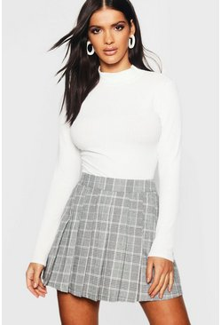 Womens Charcoal Woven Check Pleated Kilt Mini Skirt