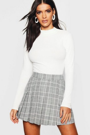 Charcoal Woven Check Pleated Kilt Mini Skirt