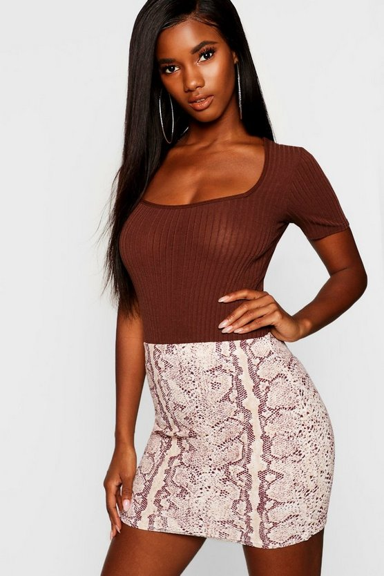 Snake Print Crepe Mini Skirt