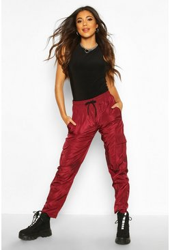 Womens Berry Tie Waist Cargo Pocket Pants