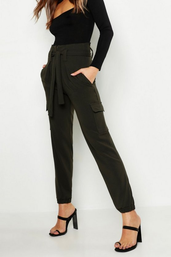 Tie Waist Cargo Pocket Trousers