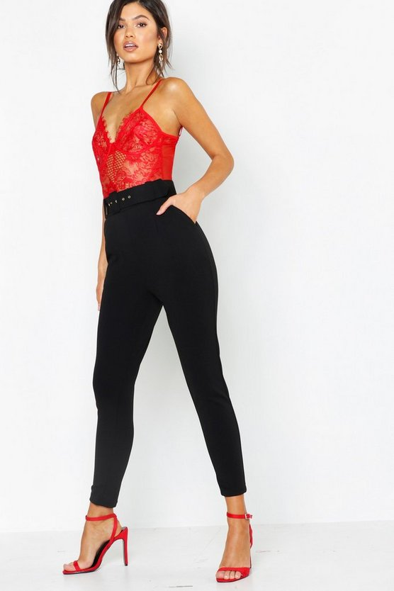 Black High Waist Belted Slim Fit Pants