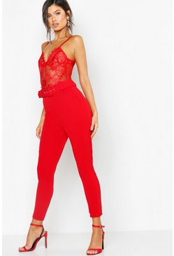 Womens Red High Waist Belted Slim Fit Pants