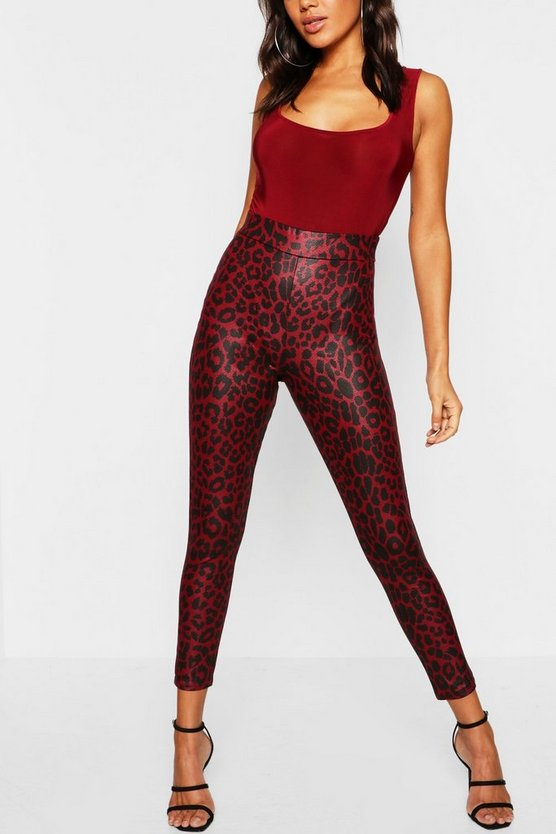 Womens Red Leopard Wet Look High Waist Legging