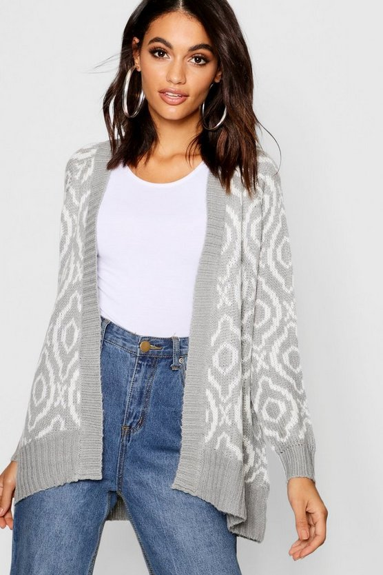 Knitted Intasia Edge To Edge Cardigan