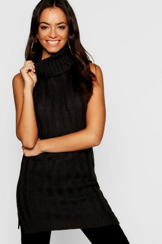 Womens Knitted Sleeveless Roll Neck Jumper
