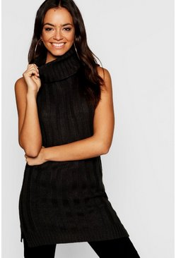 Womens Knitted Sleeveless Roll Neck Sweater