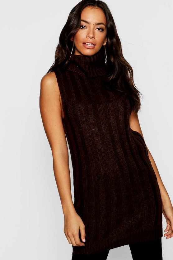 Knitted Sleeveless Roll Neck Jumper